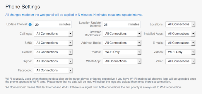 phone settings within mspy dashboard