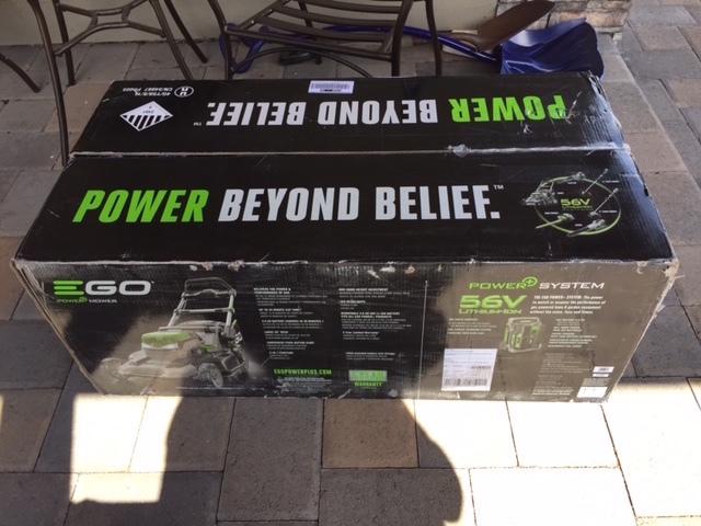 EGO power+ in shipping box