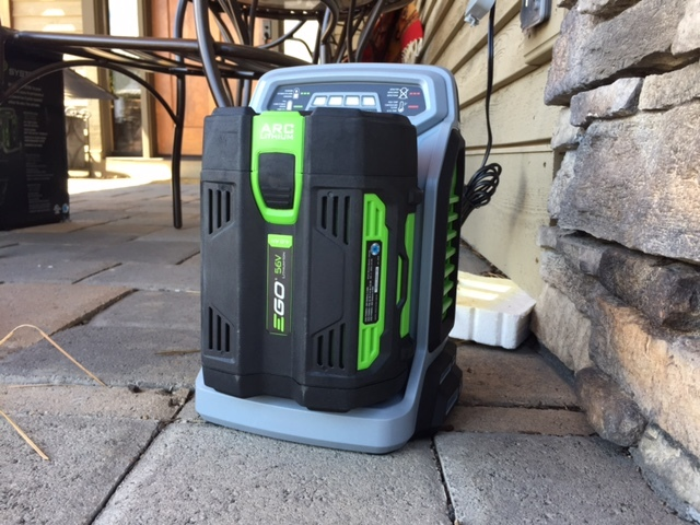 ego power+ 56V lithium ion battery on charger