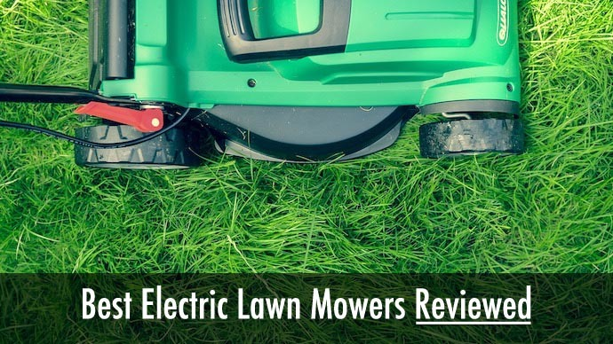 battery powered electric lawn mower on small lawn