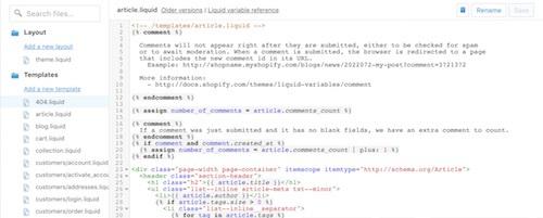 shopify's liquid programming language