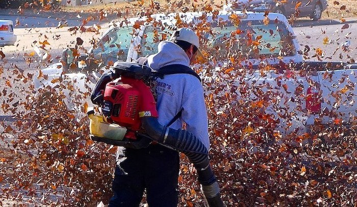 how to efficiently blow and collect leaves